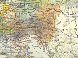 The Archduchy of Austria within the Habsburg hereditary lands (orange), 1477