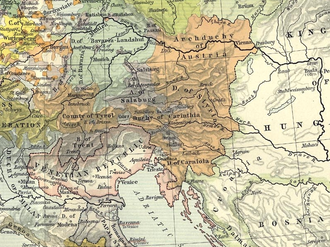 Archduchy of Austria - Archduchy of Austria within the Habsburg hereditary lands (orange), 1477