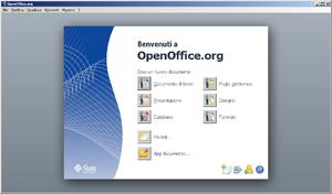 Finestra iniziale di OpenOffice 3.0 in Italiano