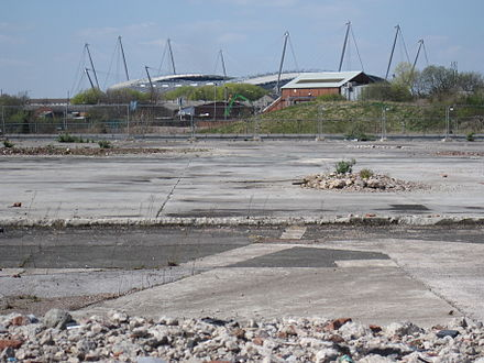 The derelict Clayton Aniline site, as pictured prior to development in 2010 Openshaw west facing Eastlands.jpg