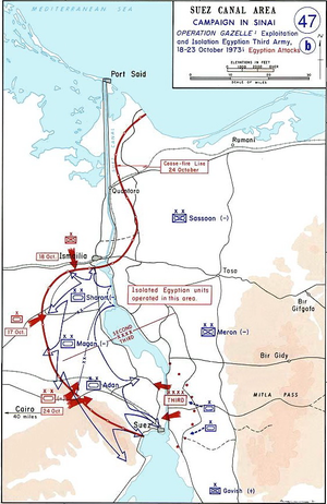 Battle of Ismailia - Map showing Operation Abiray-Lev, including the Israeli attack north toward Ismailia