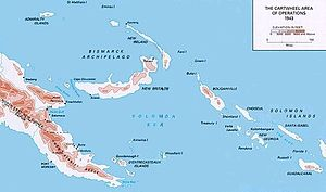 Map of the New Guinea area. Rabaul is at the top, Wau on the left.