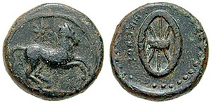 Edicts of Ashoka - Cyrene coin struck under Ophellas, the predecessor of Magas of Cyrene. Horse running right; star above / NIKWNOS, six-spoked wheel.