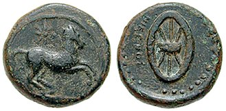 Ophellas - Cyrene coin struck under Ophellas as Ptolemaic governor. Circa 322-313 BC. Æ 19mm (8.14 gm). Horse running right; star above / NIKWNOS, six-spoked wheel.