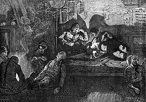 Drawing of opium smokers in an opium den in Lo...