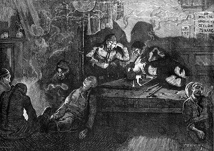 Representación de fumadores de opio en el este de Londres en 1874. Por la Illustrated London News.