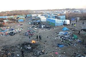 Calais Jungle - Image: Overview of Calais Jungle
