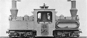 Trench railways - Baldwin Locomotive Works Péchot-Bourdon locomotive with water-lifter pipe carried on right side tank