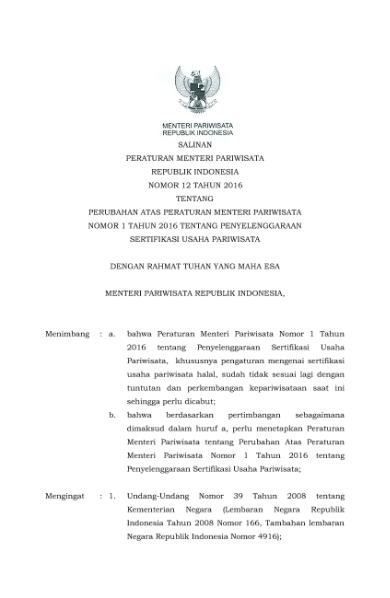 File:PERMENPAR Nomor 12 Tahun 2016.DJVU