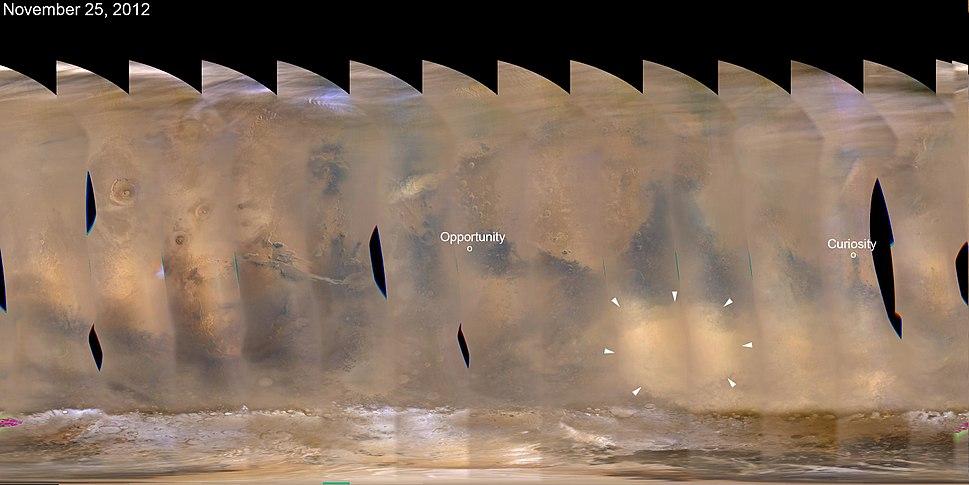PIA16454 Regional Dust Storm Weakening, Nov. 25, 2012