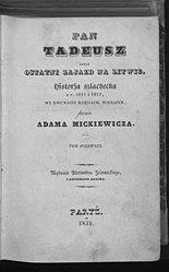 Adam Mickiewicz: Pan Tadeusz