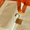 Padlock and badge holder on old book and orange background 03.jpg