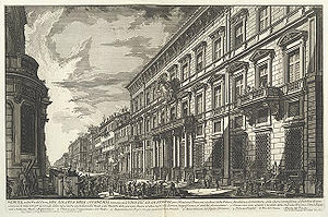 Prix de Rome - Palazzo Mancini, Rome, the seat of the Académie since 1725. Etching by Giovanni Battista Piranesi, 1752.