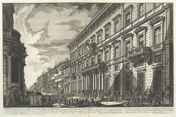 Palazzo Mancini, Rome, the seat of the Academie since 1725. Etching by Giovanni Battista Piranesi, 1752. Palazzo Mancini.jpg