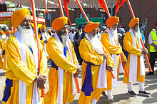 Panj pyare leading a procession in Wolverhampton, UK