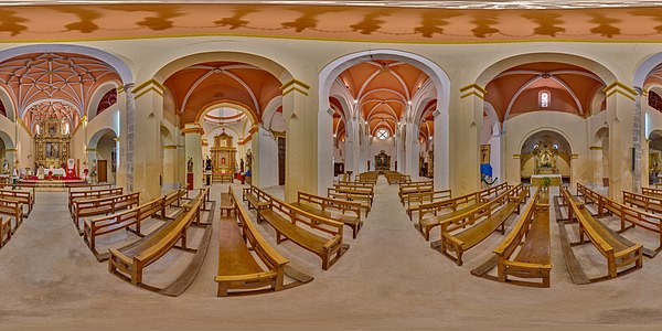 Spherical panorama of San Andrés church, Calatayud, Spain.