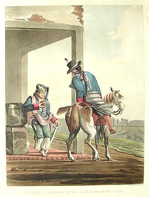 Emeric Essex Vidal - Image: Paolistas, Soldiers of the East Bank of the Plata Emeric Essex Vidal Picturesque illustrations of Buenos Ayres and Monte Video (1820)