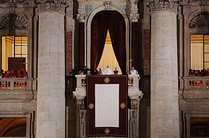 Papal conclave, 2013 - Pope Francis appears on the balcony of St. Peter's Basilica following his election, 13 March 2013.