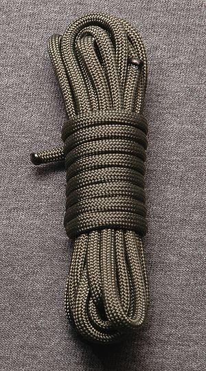 Parachute cord - A 10 ft (3 m) coil of commercial parachute cord