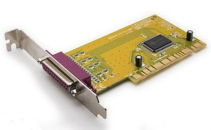 Legacy port - A parallel port implemented as a PCI card. Users can use expansion cards to add deprecated legacy ports to newer computer systems that do not provide them.