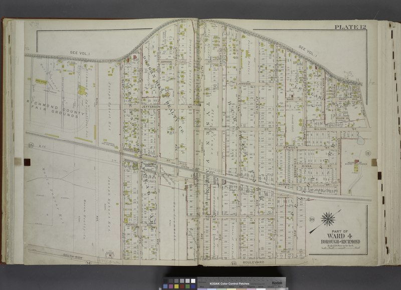 File:Part of Ward 4. (Map bound by Richmond Road, Old Town Road, Wilson Ave, Cornelia St, Pelton St, Evergreen Ave, Adele St, South Side Boulevard, Liberty Ave, Jefferson St, Buel Ave) NYPL1646279.tiff