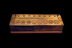 Blaise Pascal: Six-figure calculating machine by Blaise Pascal, with also sous or deniers