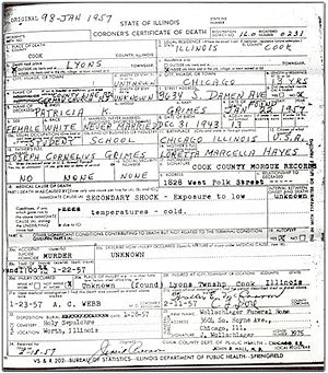 Murder of the Grimes sisters - Death certificate of Patricia Grimes.