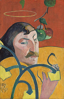 <i>Self-Portrait with Halo and Snake</i> painting by Paul Gauguin