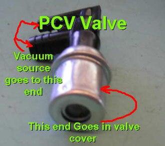Crankcase ventilation system - Image: Pcv valve