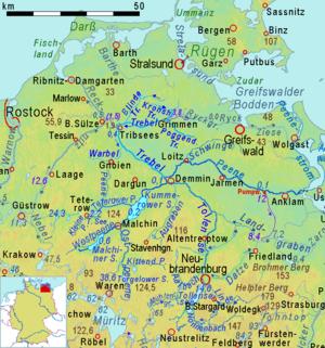Karte Seen Mecklenburgische Seenplatte.Malchiner See Wikipedia
