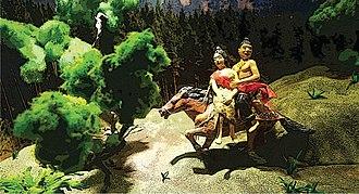 Malang - Diorama of kidnapping Ken Dedes by Tunggul Ametung at Mpu Purwa Museum, Malang.