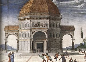 Delivery of the Keys (Perugino) - Detail of the central building.