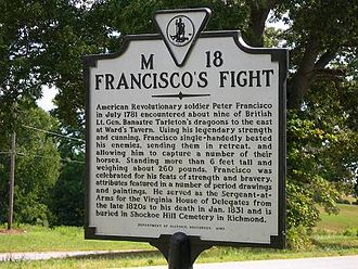 Francisco's Fight - State historic marker dedicated to the fight