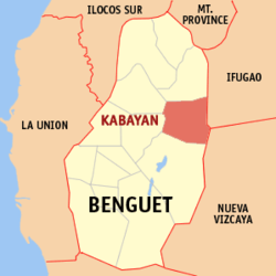 Map of Benguet showing the location of Kabayan