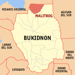 Map of Bukidnon with Malitbog highlighted