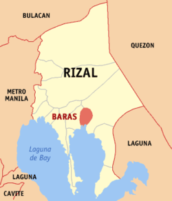 Map of Rizal showing the location of Baras