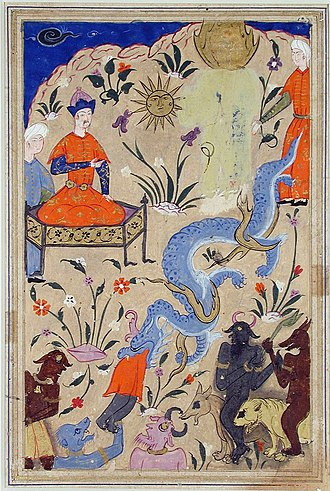 Qisas Al-Anbiya - Pharaoh watches a serpent devour a demon in the presence of Musa; from a manuscript of Qisas al-Anbiya, c. 1540.