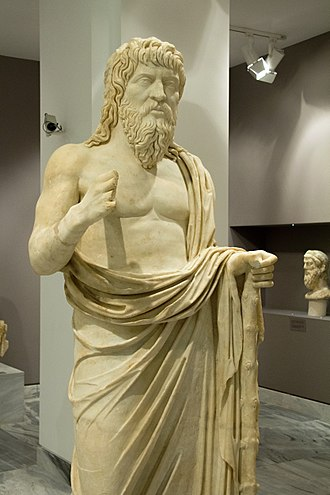 Life of Apollonius of Tyana - A wandering philosopher, probably representing Apollonius of Tyana, who lived a part of his life in Crete and died there. Found in Gortyn (late 2nd century AD), now in Heraklion Archaeological Museum, Crete.