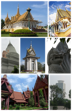 Clockwise, from top: Royal Throne Hall, Silver Pagoda, lion and naga statues, Canadia Tower, National Museum, stupa of King Ponhea Yat, Choeung Ek