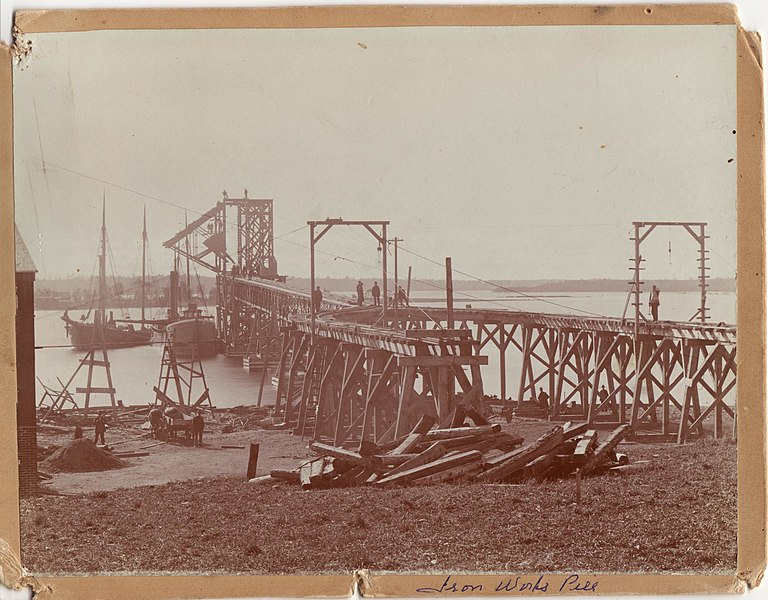 File:Photograph by H. A. Osborne of Deseronto, Ontario, showing the Deseronto Iron Company's pier, used for unloading from vessels in the Bay of Quinte. The rails on the pier on which the loads were (3405365828).jpg
