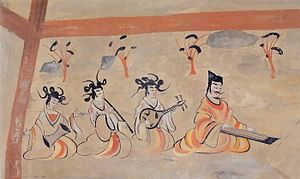 "Sixteen Kingdoms - ""Carpe diem"": a mural painting showing the leisurely life scene, from a tomb in Chiu-ch'üan, Later Liang - Northern Liang."
