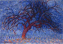 Piet Mondrian painting Evening; Red Tree in the Gemeentemuseum Den Haag
