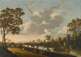Pieter Bout - A Landscape with a Barge Being Towed along a Canal