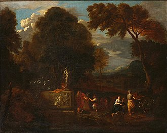 Pieter Rijsbraeck - An Arcadian landscape with figures making a sacrifice before an altar