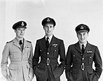 """Pilots of No. 112 Squadron RAF photographed on reaching the end of their tour of operations in North Africa, 1942- Flight Lieutenant D F """"Jerry"""" Westenra, Flying Officer N F Duke and Flight Lieutenant P H """"Hunk CM2504.jpg"""