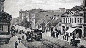 Trams in Łódź - Tram in Łódź, 1900.