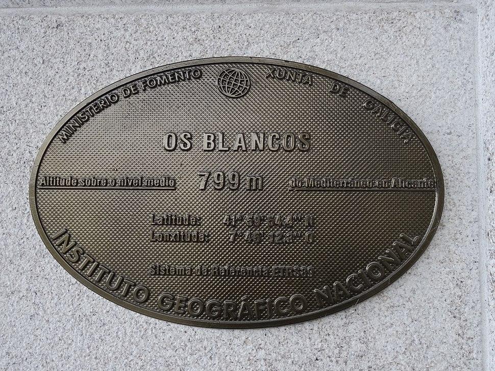 Placa altimétrica Os Blancos, Ourense