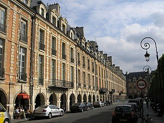 Terraced house - East side of the Place des Vosges in Paris, one of the earliest examples of terraced housing