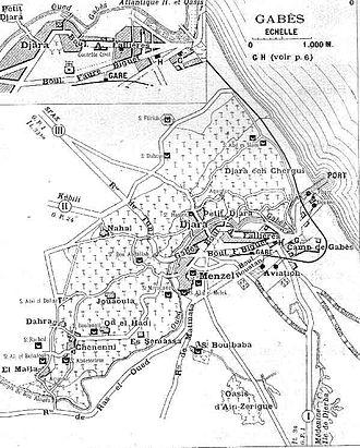Gabès - 1928 map of Gabès under the French.