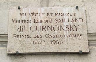 Curnonsky - Commemorative plaque on nr. 14 of the place Henri-Bergson, Paris 8e.